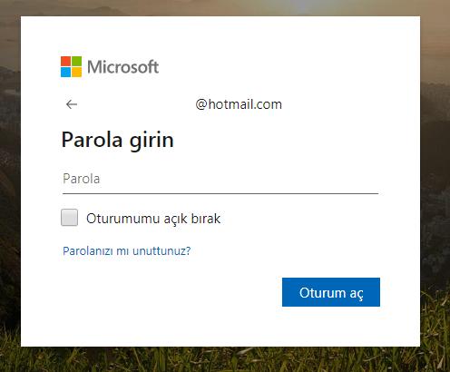 Hotmail parola