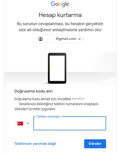 gmail hesap kurtarma