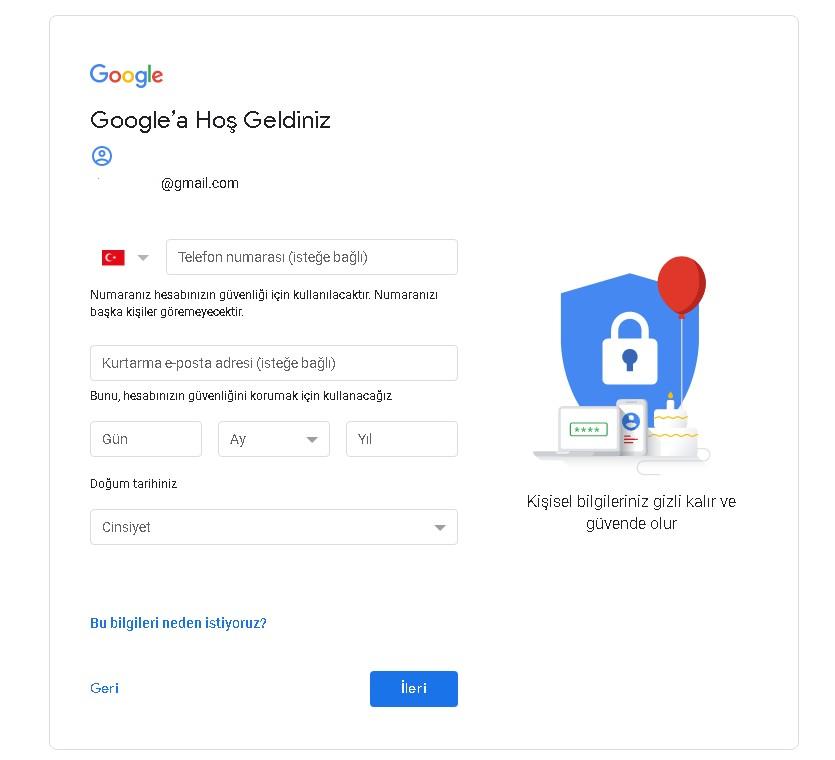 gmail kayıt işlemleri