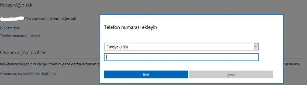 Hotmail Outlook Hesabına Telefon Numarası Eklemek